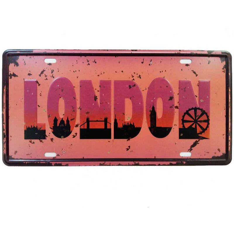 Placa-De-Carro-Decorativa-Em-Alto-Relevo-London-Pink