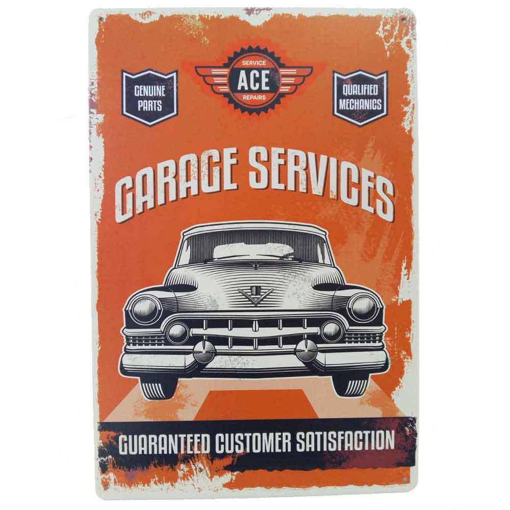 Placa-De-Metal-Decorativa-Garage-Services