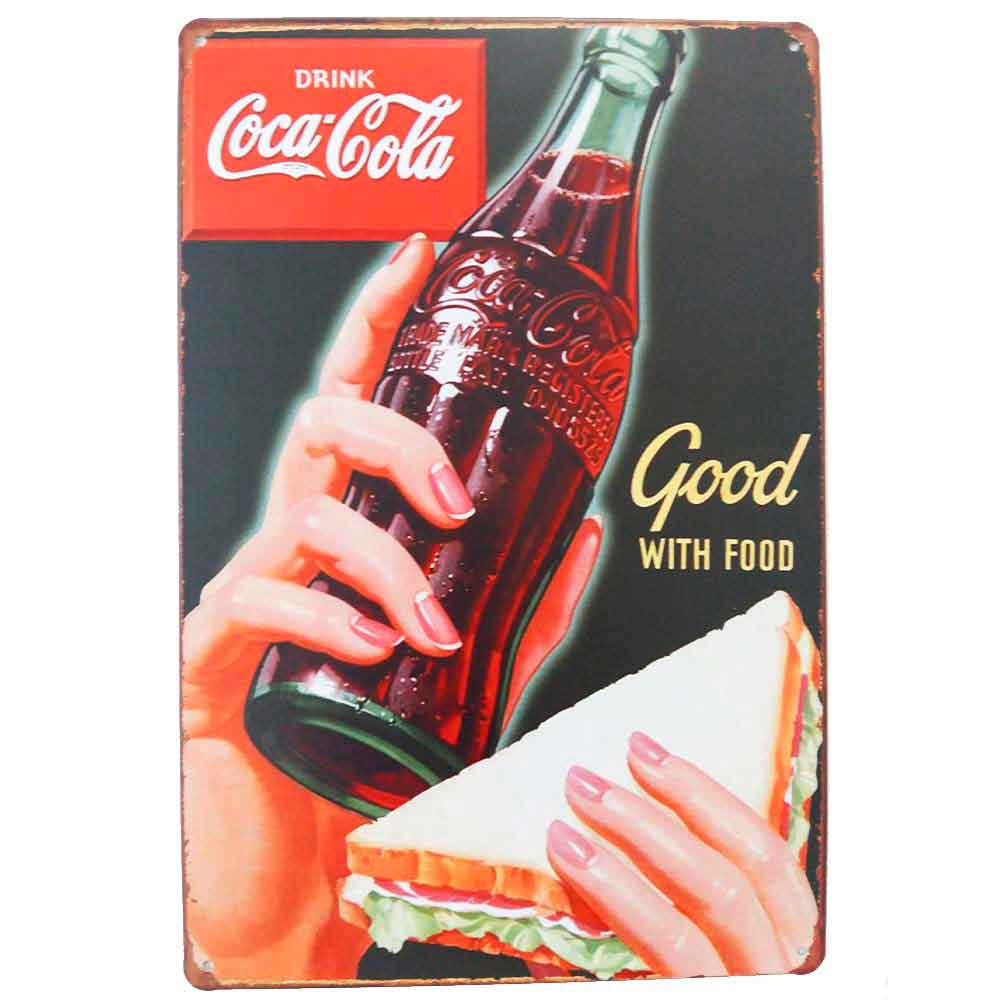 Placa-De-Metal-Decorativa-Coca-Cola-Good-With-Food-Vintage