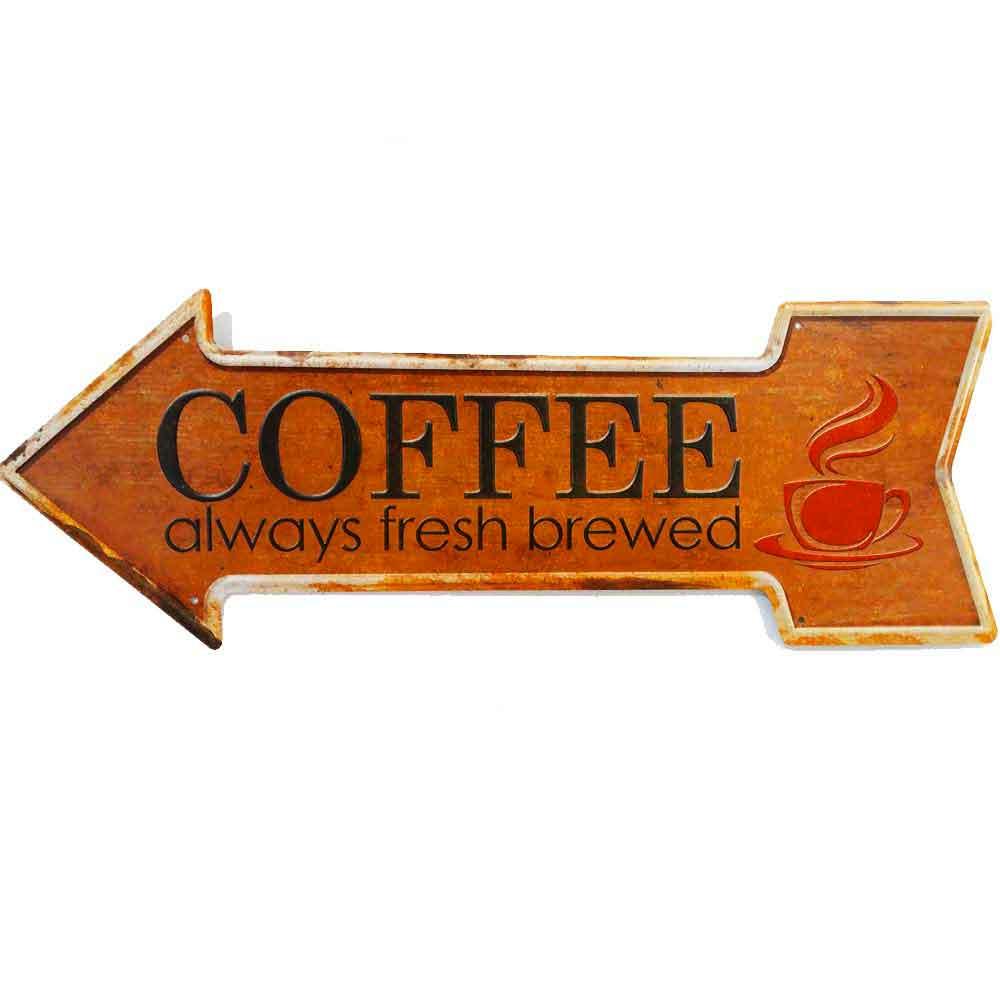 Placa-Seta-De-Metal-Decorativa-Coffee-Laranja