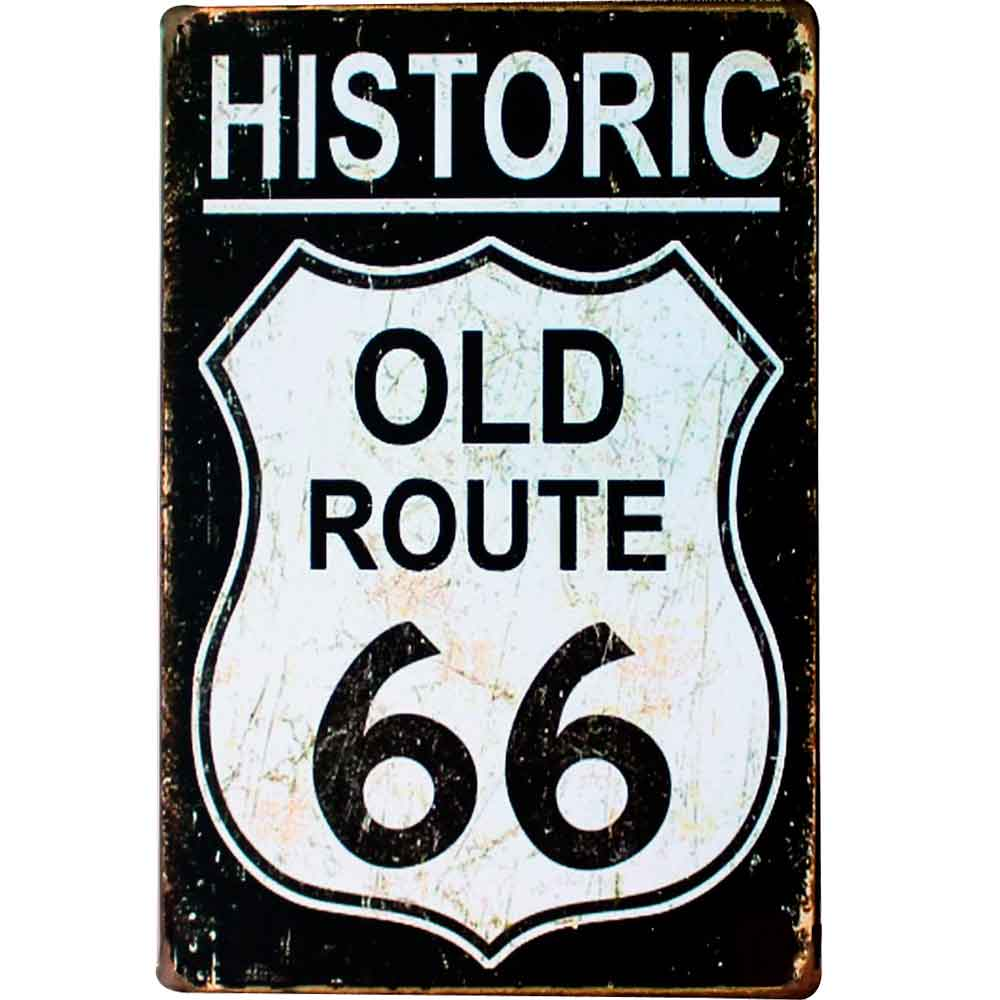 Placa-De-Metal-Decorativa-Route-Us-66-Black