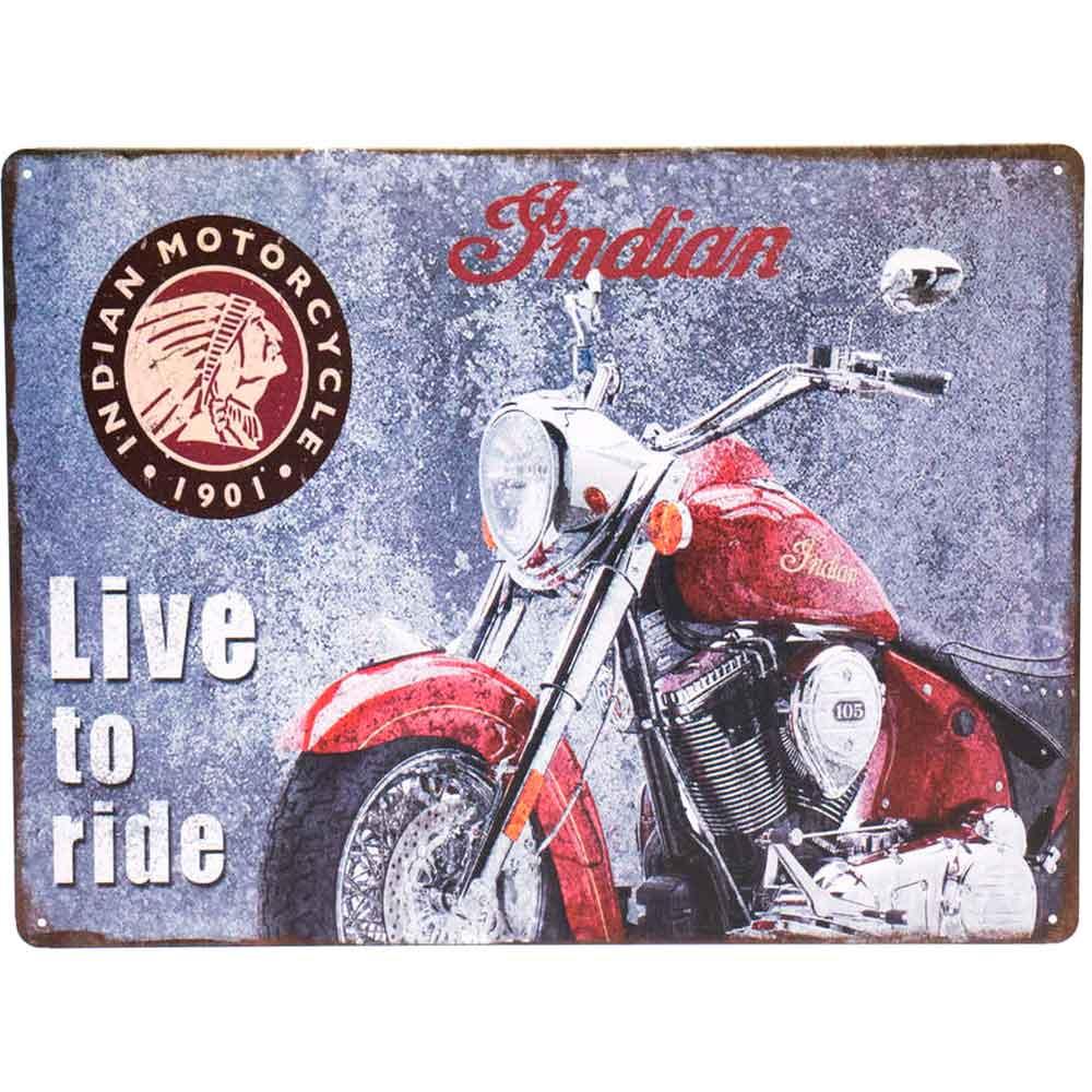 Placa-De-Metal-Decorativa-Indian-Live-To-Ride