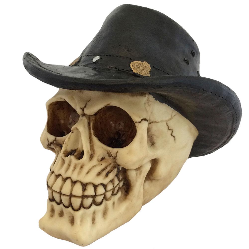 Caveira-Decorativa-Chapeu-Cowboy