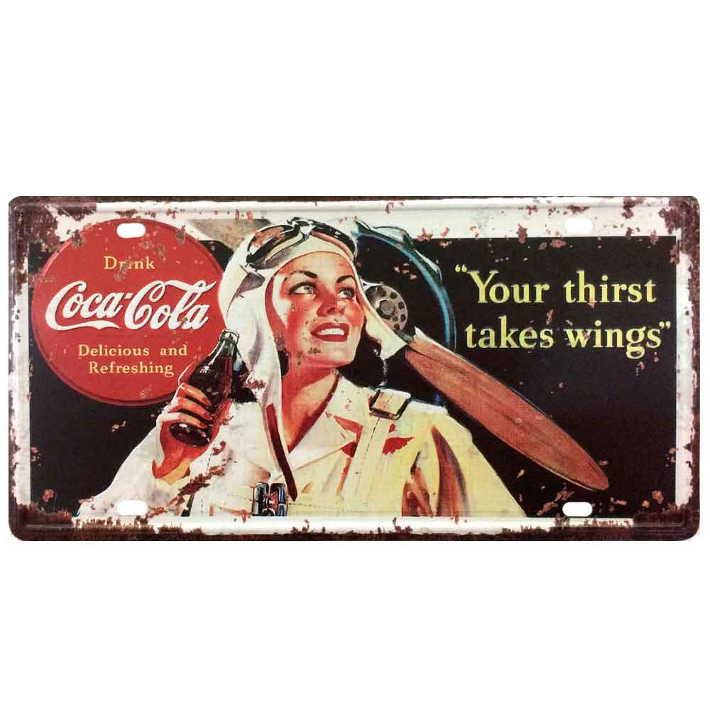 Placa-De-Metal-Decorativa-Coca-Cola-Your-Thirst-Takes-Wings