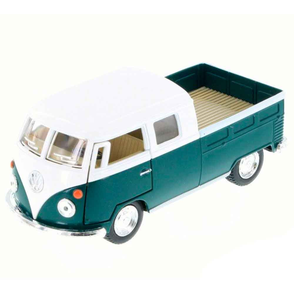 Miniatura-1963-Volkswagen-Kombi-Pickup-Cabine-Dupla-Escala-1-34-Saia-E-Blusa-Verde