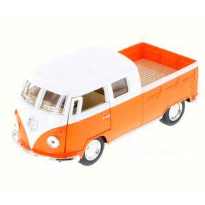Miniatura-1963-Volkswagen-Kombi-Pickup-Cabine-Dupla-Escala-1-34-Saia-E-Blusa-Laranja