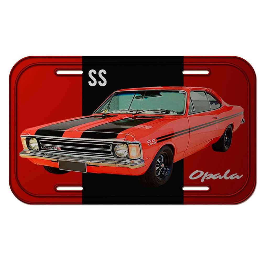 Placa-De-Carro-Metal-Gm-Opala-Ss-1974-Vermelha
