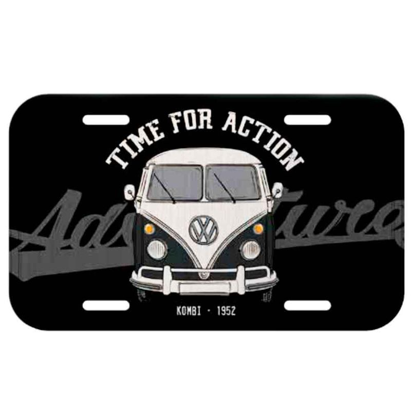 Placa-De-Carro-Metal-Volkswagen-Kombi-Time-For-Action-Preta