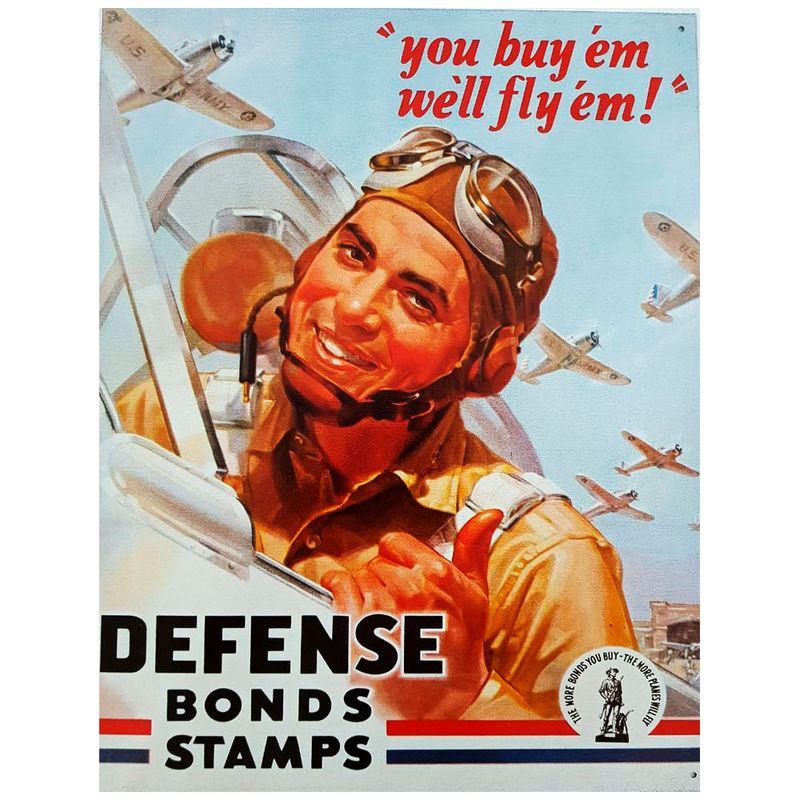 Placa-De-Metal-Defense-Bonds-Stamps-Aviacao