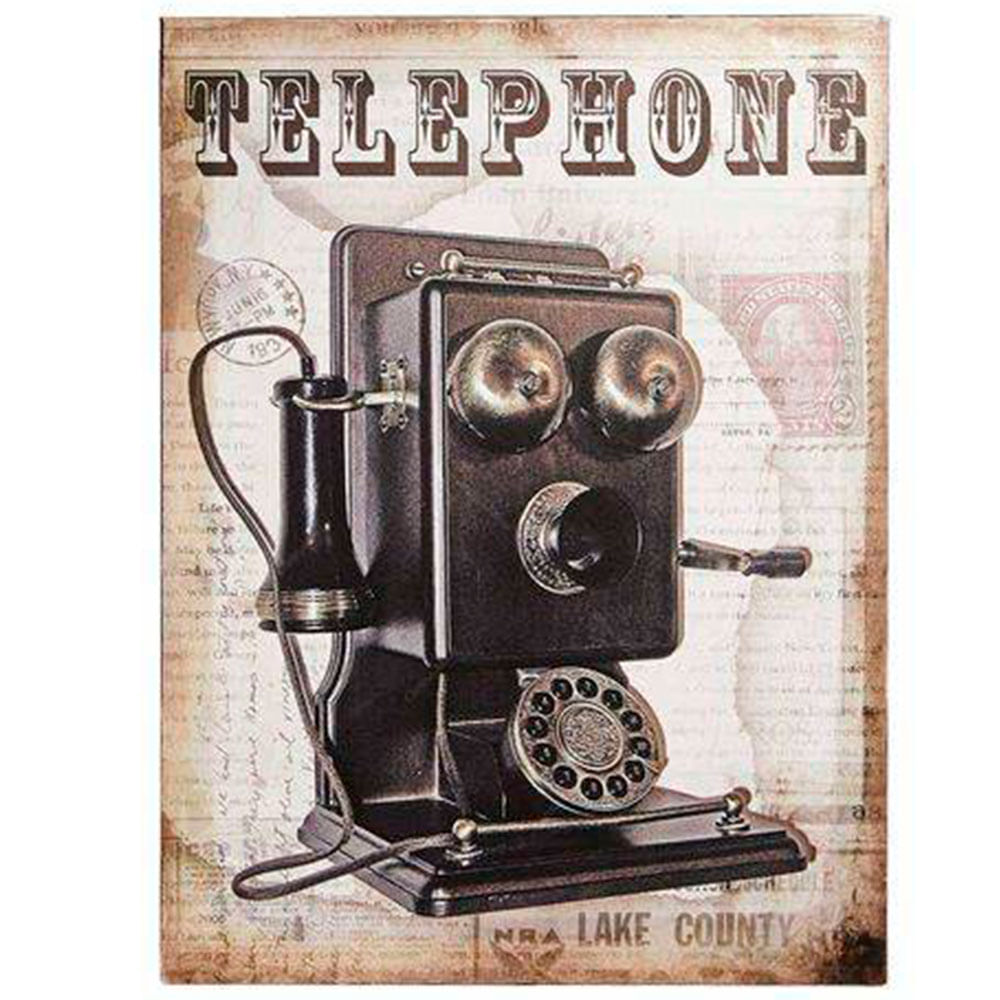 Placa-De-Metal-Vintage-Telephone