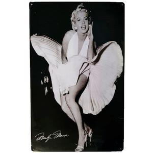 Placa-De-Metal-Vintage-Da-Marilyn-Monroe-Vestido-Branco