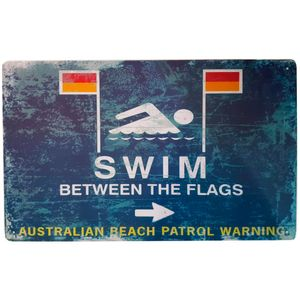Placa-De-Metal-Swim-Between-The-Flags