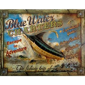 Placa-De-Metal-Blue-Water-Charters