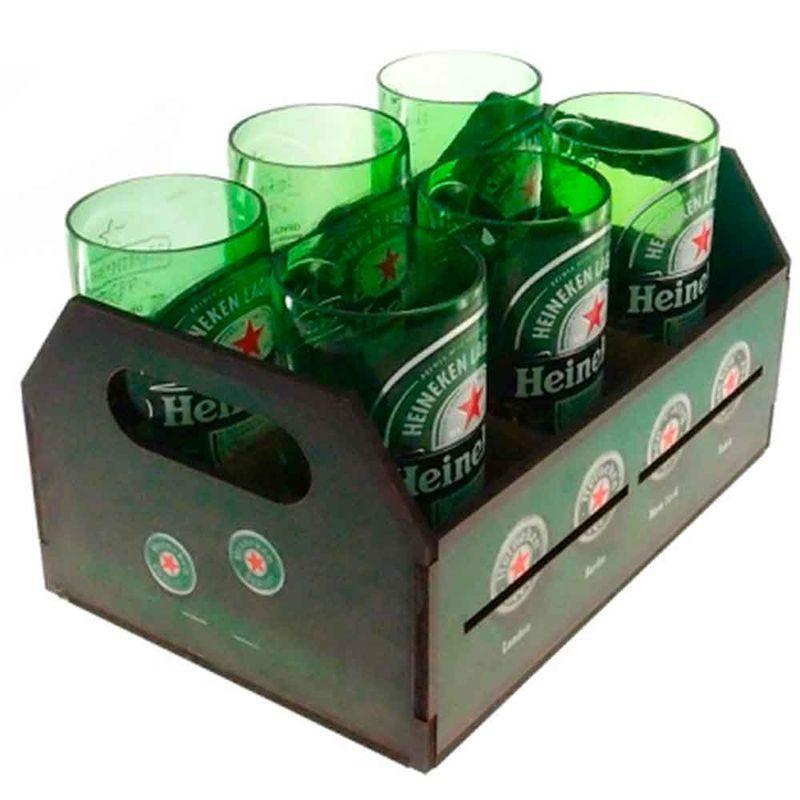 Engradado-Com-6-Copos-De-Vidro-Heineken-Retro