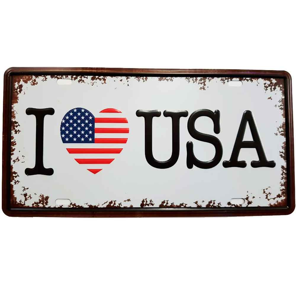 placa-de-metal-i-love-usa