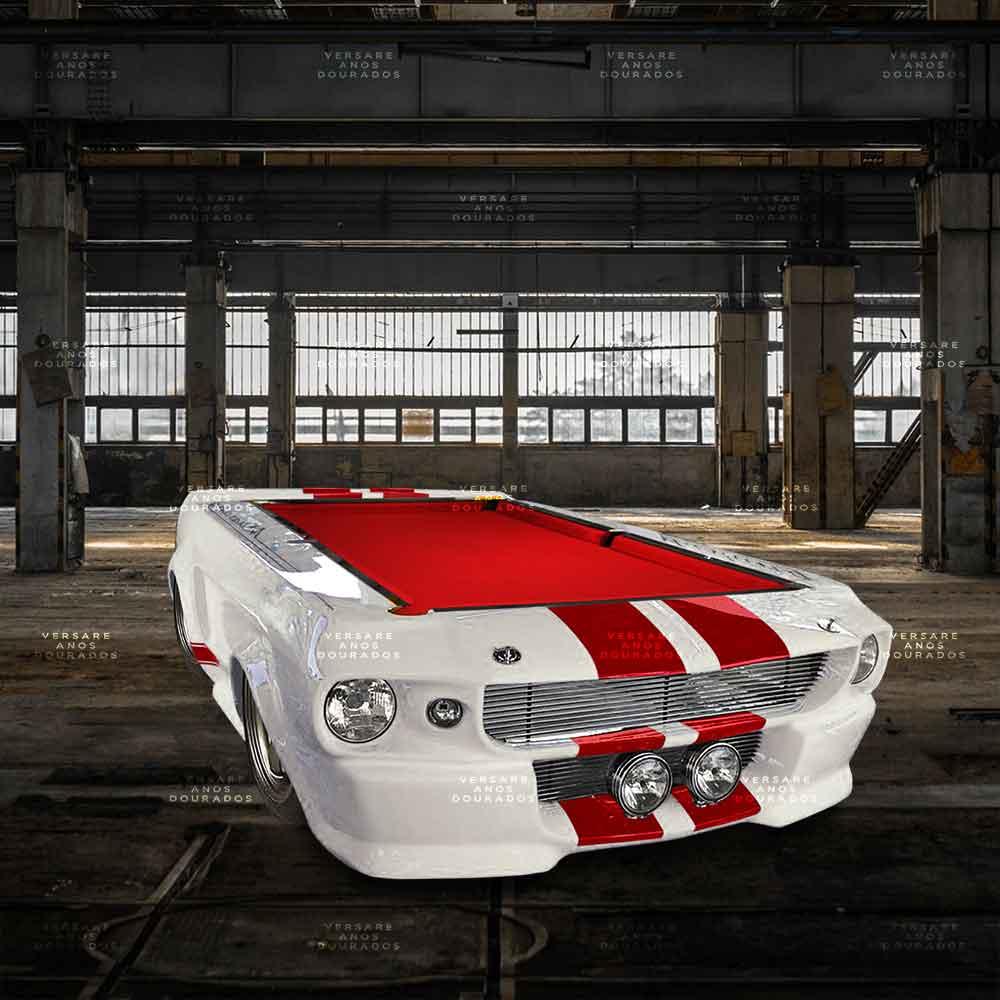 Mesa-De-Bilhar-Mustang-Goldfinger-Branco---Tecido-Vermelho