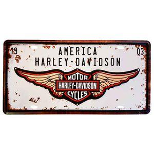 Placa-De-Carro-Decorativa-Em-Alto-Relevo-America-Harley-Davidson-Branco---Unica