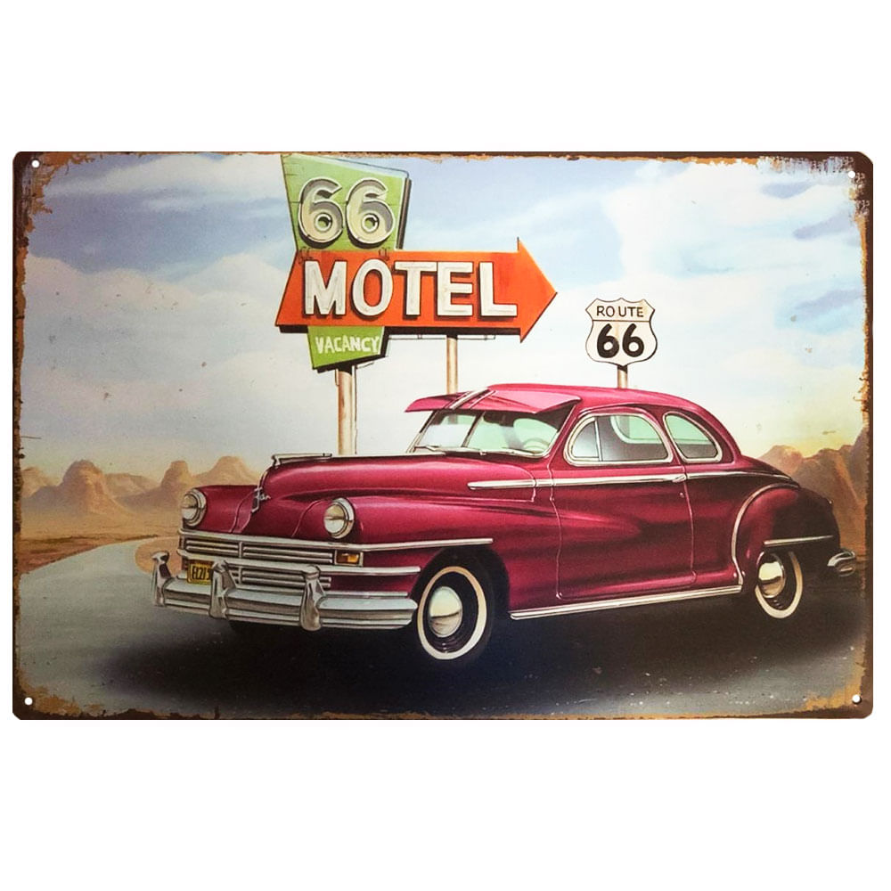 placa-decorativa-route-66-motel