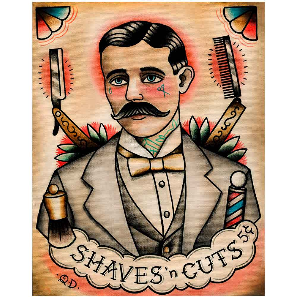 PLACA-DECORATIVA-PARA-BARBEARIAS-QUYEN-DIHN--SHAVES-AND-CUTS----------------------------------------