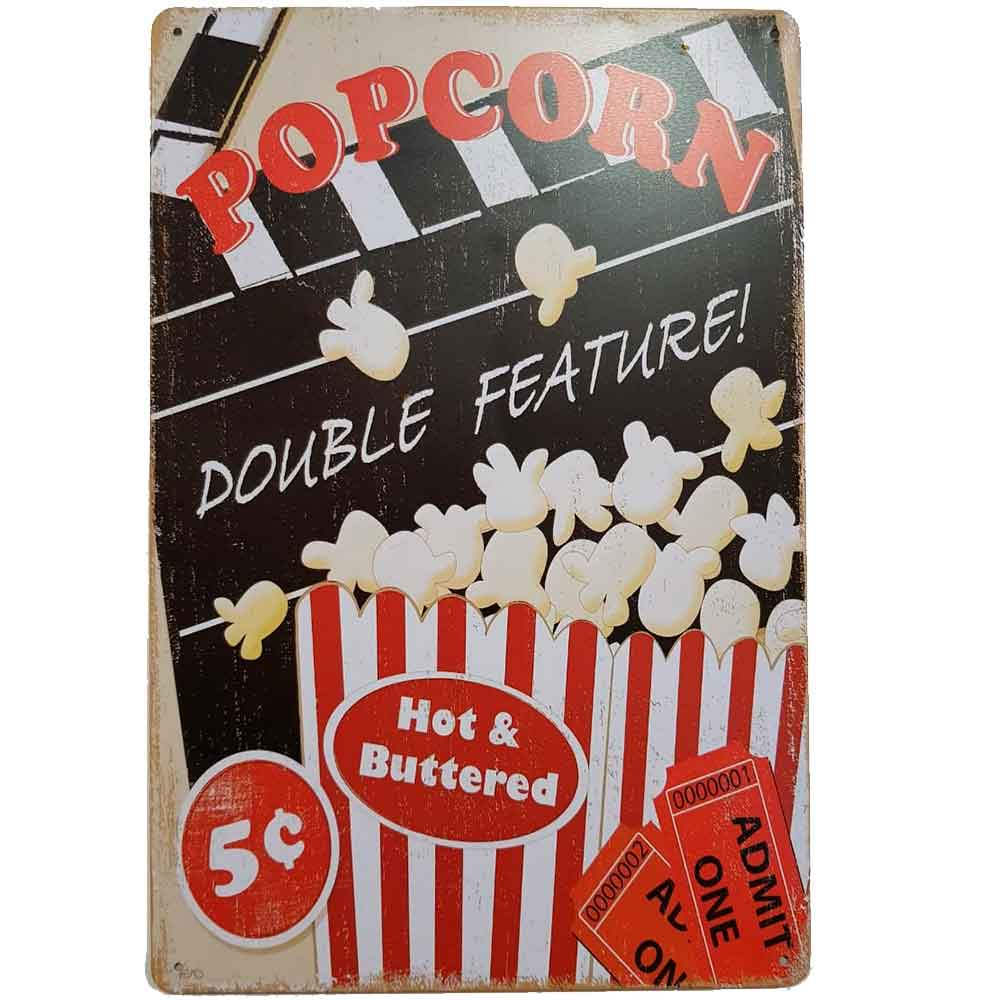 placa-de-metal-popcorn-double-feature