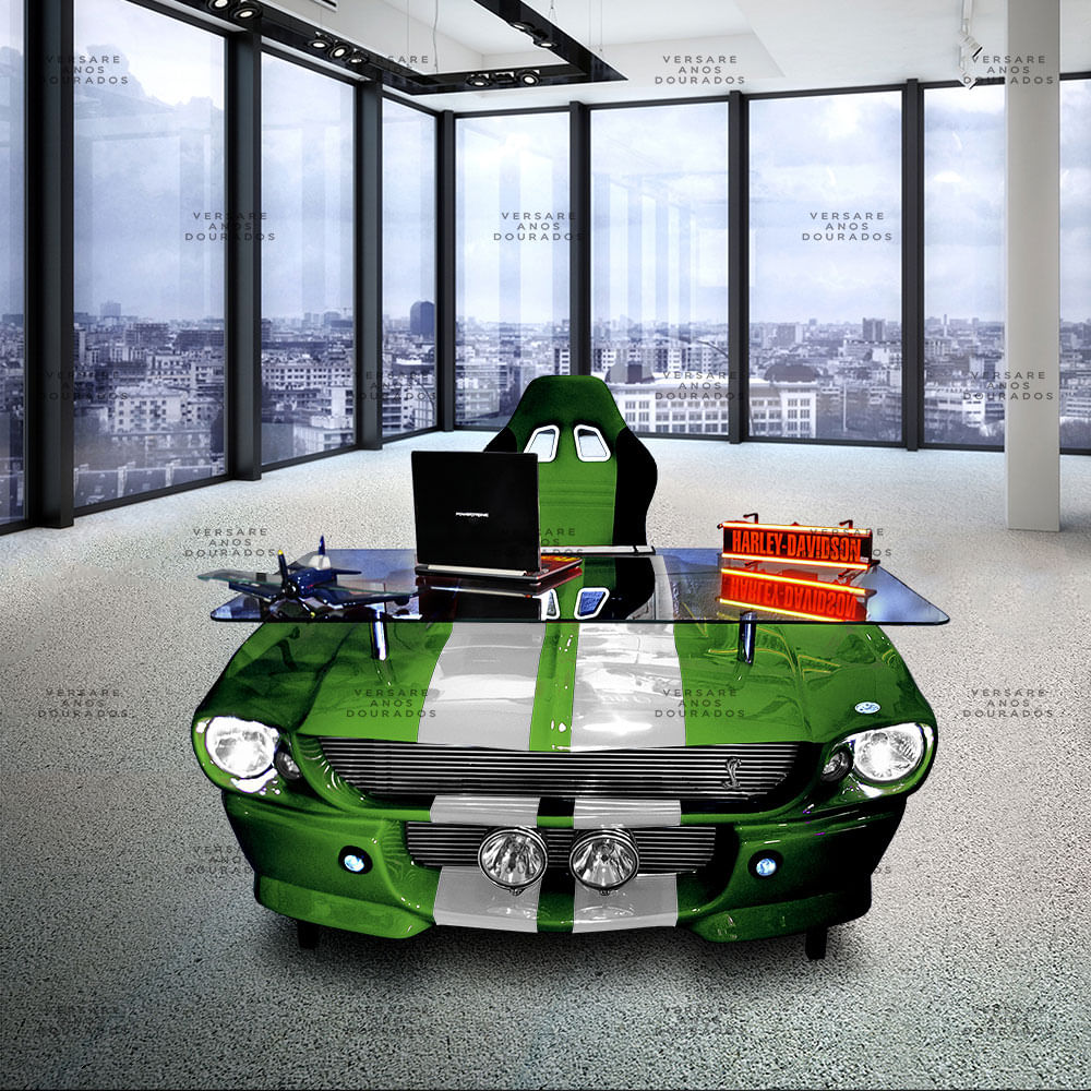 Mesa-de-Escritorio-Mustang-K9--mustang-verde-com-faixa-branca---------------------------------------