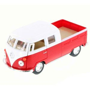 Miniatura-1963-Volkswagen-Kombi-Pickup-Cabine-Dupla-Escala-1-34-Saia-E-Blusa-Vermelho