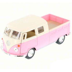 miniatura-1963-volkswagen-kombi-pickup-cabine-dupla-rosa-pastel-cod-542001