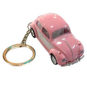 Chaveiro-Miniatura-1967-Volkswagen-Fusca-Escala-1-64-Rosa-Pastel