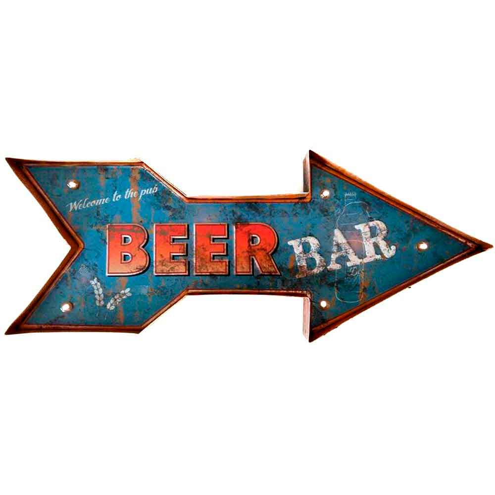 Placa-Led-Retro-Seta-Beer-Bar-----------------------------------------------------------------------