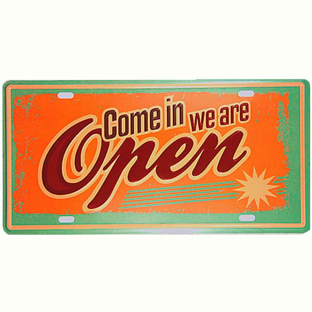Placa-De-Carro-Decorativa-Em-Alto-Relevo-We-Are-Open