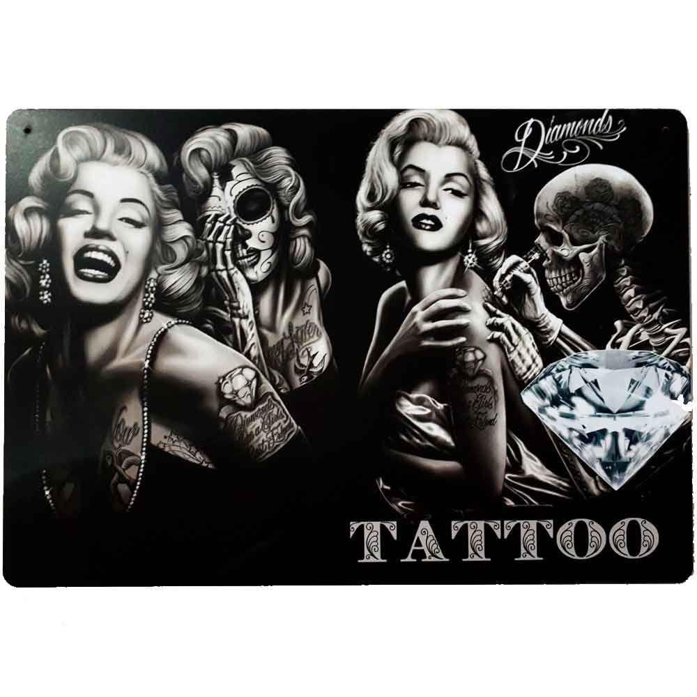 Placa-Decorativa-Mdf-Marilyn-Monroe-Tattoo
