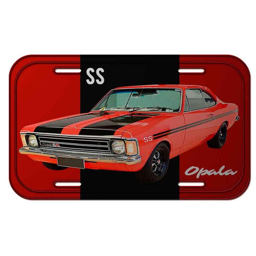 Placa-De-Carro-Metal-Gm-Opala-Ss-1974-Vermelha