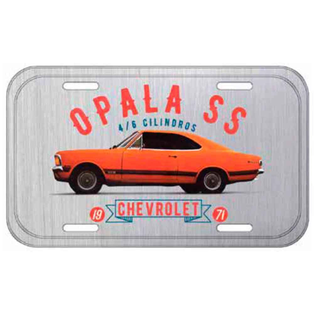 Placa-De-Carro-Metal-Gm-Opala-Ss-1971-Cinza