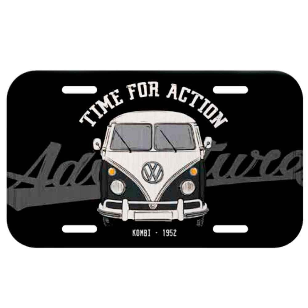 Placa-De-Carro-Metal-Volkswagen-Kombi-Time-For-Action-Preta