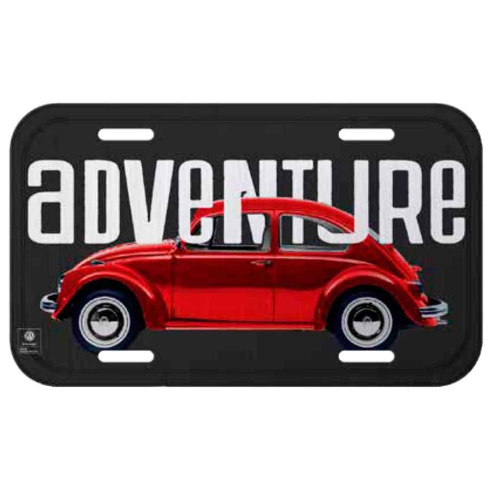 Placa-De-Carro-Metal-Volkswagen-Fusca-Adventure-Cinza