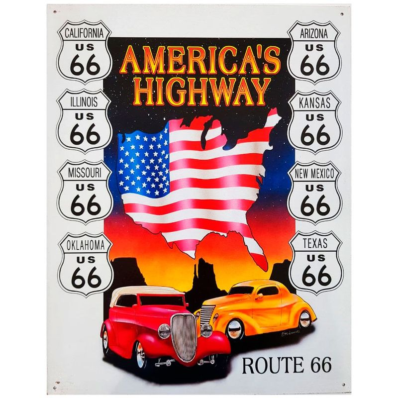 Placa-De-Metal-America-s-Highway-Route-66