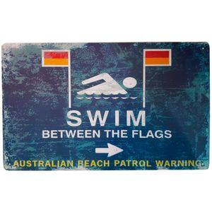 Placa-De-Metal-Swim-Between-The-Flags