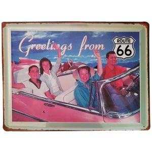 Placa-De-Metal-Greetings-From-Route-66