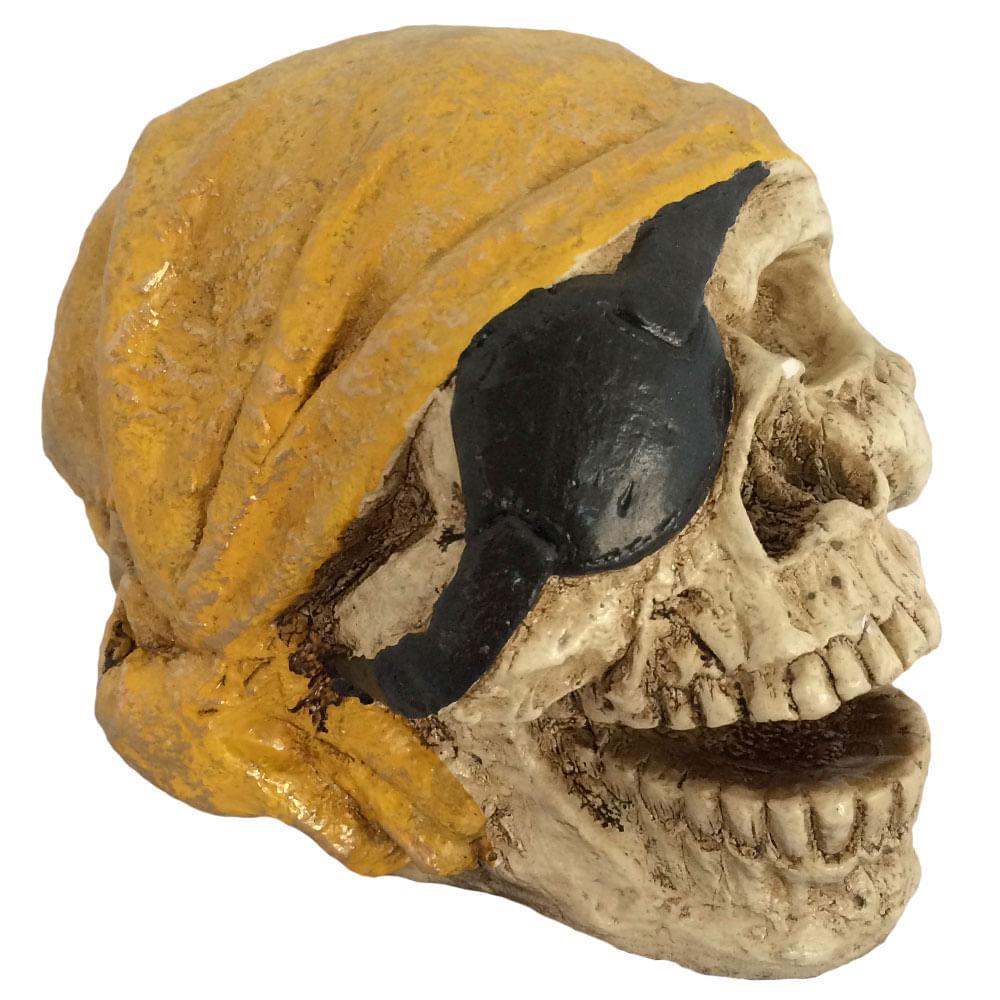 Caveira-Decorativa-Gesso-Pirata-Amarelo