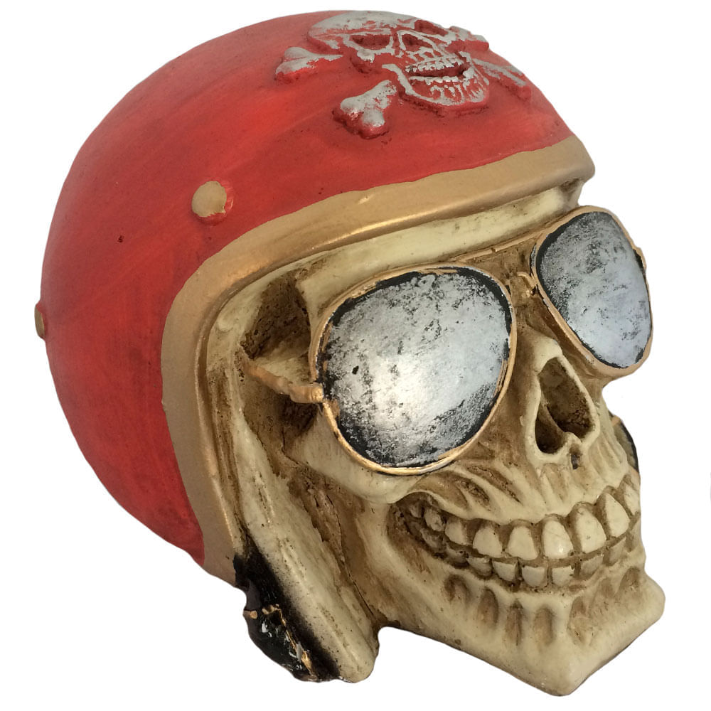 Caveira-Decorativa-Gesso-Motociclista-Vermelho