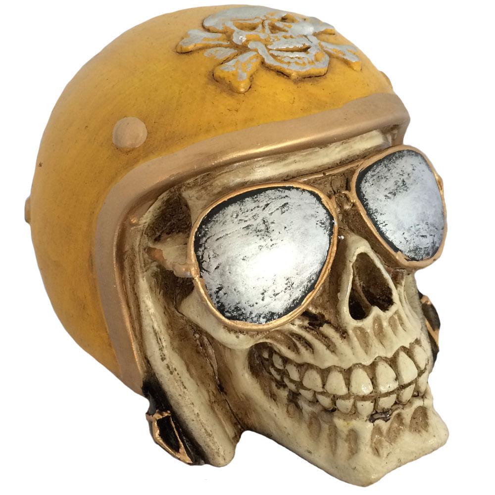 Caveira-Decorativa-Gesso-Motociclista-Amarelo