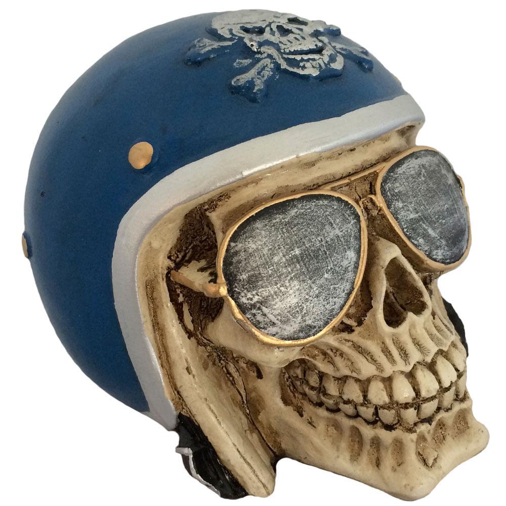 Caveira-Decorativa-Gesso-Motociclista-Azul