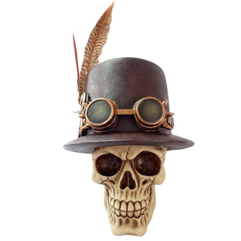 Caveira-Resina-Fancy-Hat-With-Feather-And-Glasses