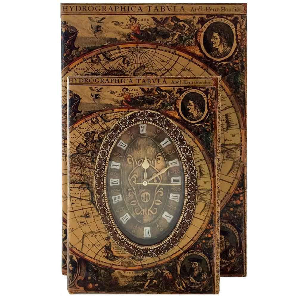 Caixa-Livro-Relogio-Mapa-Mundi-Vintage