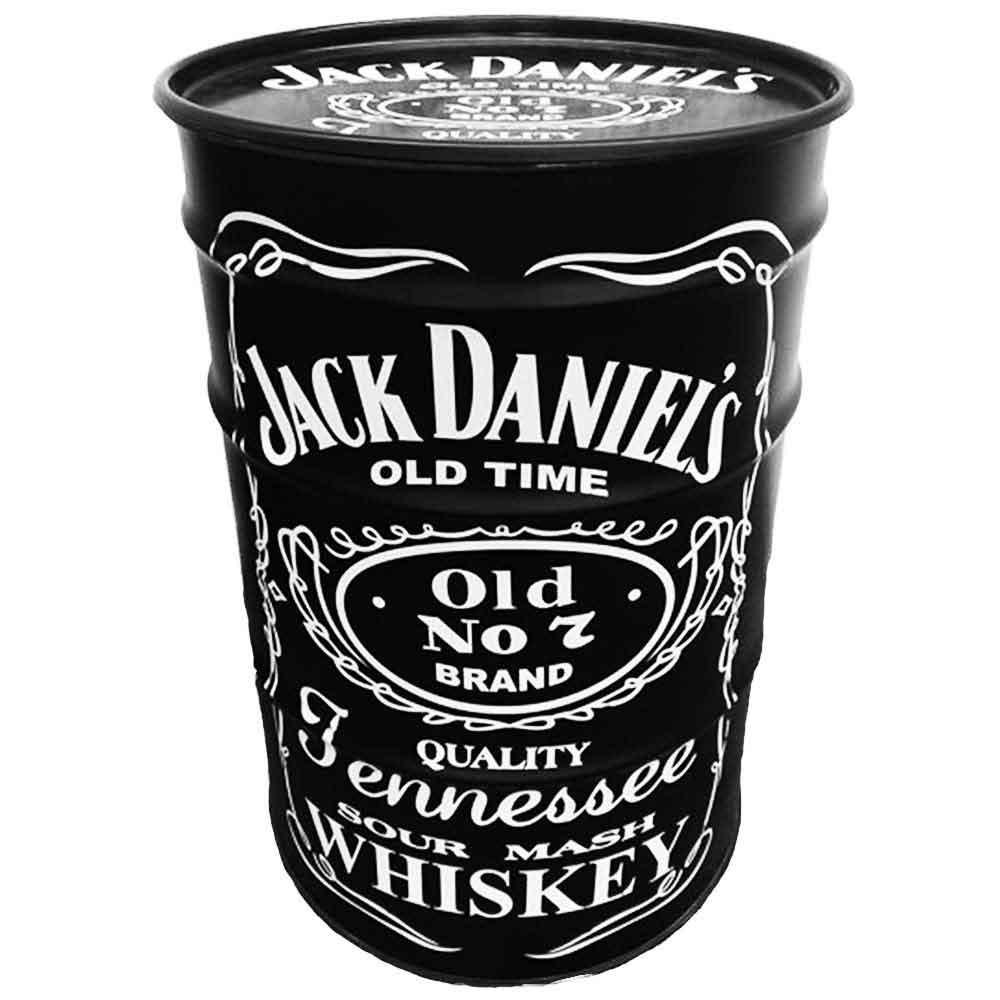 Tambor-Decorativo-Jack-Daniels-Preto-Vintage-Industrial