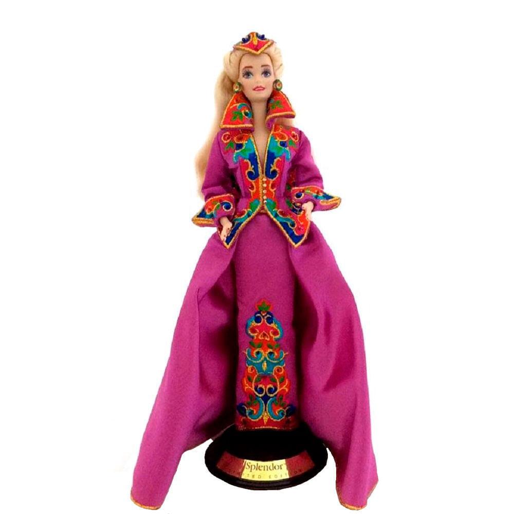 Barbie-De-Porcelana-Royal-Splendor-Com-Swarovski-1993-Azul---Unica