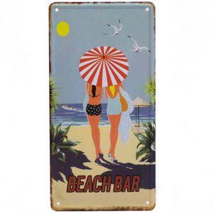 Placa-Carro-Decorativa-De-Metal-Beach-Bar