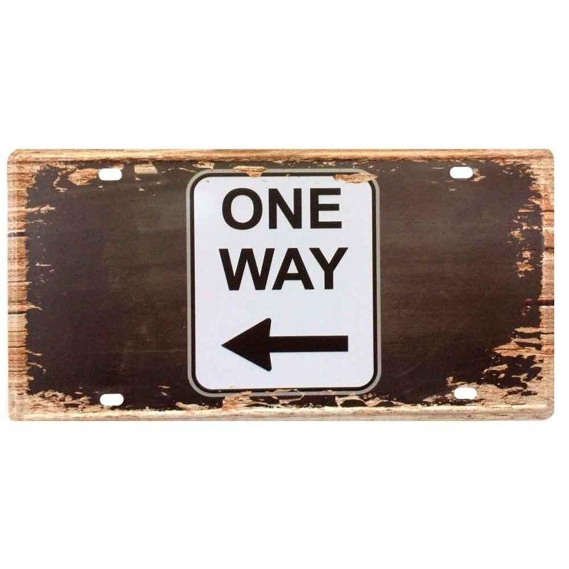 Placa-De-Metal-Decorativa-One-Way