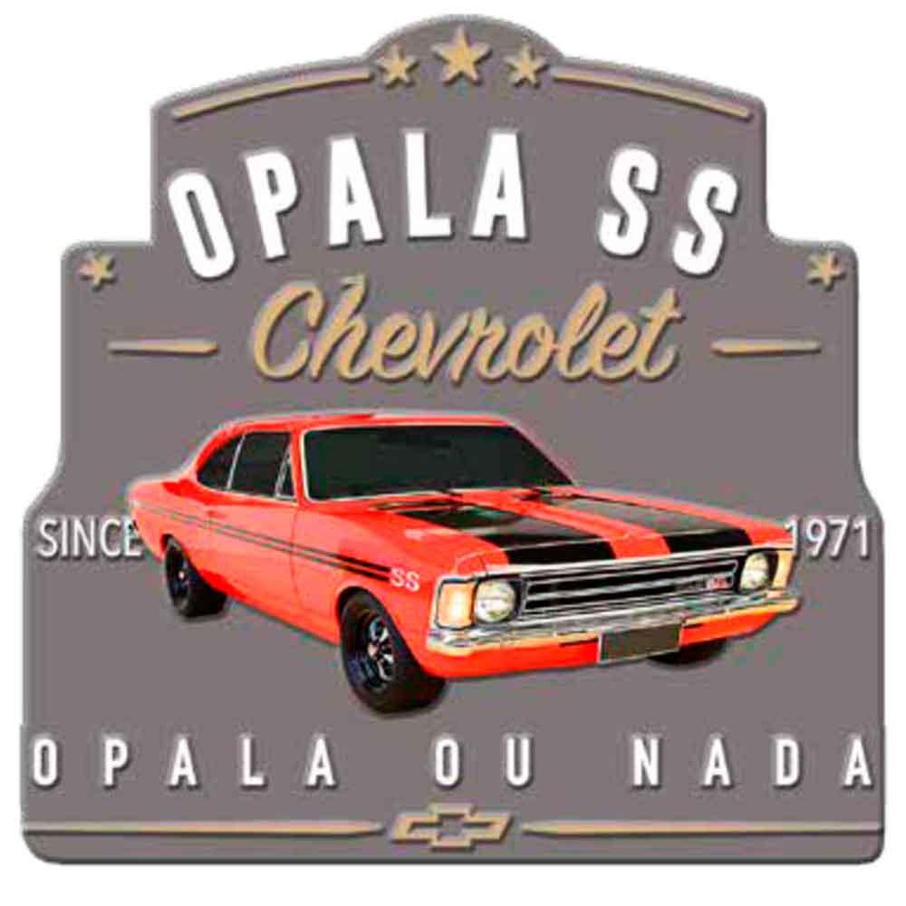 Placa-De-Metal-Recorte-Gm-Opala-Ss-1971-Cinza