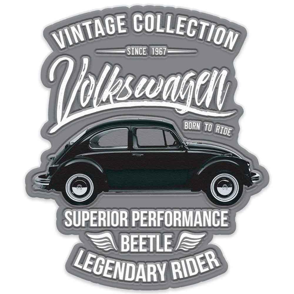 Placa-Metal-Recorte-Volkswagen-Fusca-Vintage-Cinza